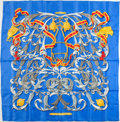 "Luxury Accessories:Accessories, Hermes Blue and Gold ""Mors a la Conetable,"" by Henri d'Origny Silk Scarf. ..."