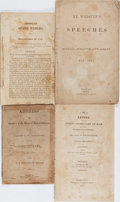 Books:Americana & American History, [War of 1812]. James Monroe, Daniel Webster, etc. Four PamphletsRelating to the American Congress. Original wrappers. Three...
