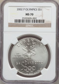 Modern Issues, 2002-P $1 Olympics Silver Dollar MS70 NGC. NGC Census: (687). PCGSPopulation (335). Numismedia Wsl. Price for problem fre...