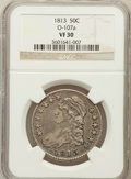 Bust Half Dollars, 1813 50C VF30 NGC. O-107a. NGC Census: (27/670). PCGS Population(49/502). Mintage: 1,241,903. Numismedia Wsl. Price for pr...