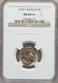 Buffalo Nickels, 1938-D 5C MS66+ ★ NGC. NGC Census: (19469/1940). PCGS Population(27958/1592). Mintage: 7,020,...