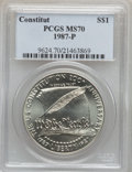 Modern Issues: , 1987-P $1 Constitution Silver Dollar MS70 PCGS. PCGS Population(288). NGC Census: (452). Mintage: 451,629. Numismedia Wsl....