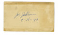 Autographs:Index Cards, Joe Jackson Cancelled Government Postcard. A signature request to the exiled legend Joe Jackson was returned with his sign...