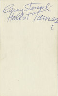 """Autographs:Index Cards, Casey Stengel """"Hall of Famer"""" Signed Index Card. Legendary skipper and Cooperstown inductee Casey Stengel turned a few head..."""