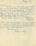 Autographs:Letters, 1968 George Kelly Signed Handwritten Letter. This exceptional handwritten letter provides marvelous insight into the mind o...