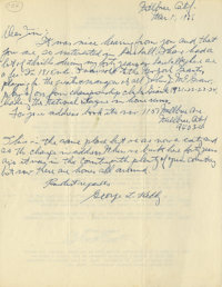 1968 George Kelly Signed Handwritten Letter. This exceptional handwritten letter provides marvelous insight into the min...