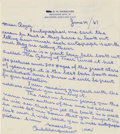 Autographs:Letters, 1967 Rube Marquard Signed Handwritten Letter. This 1967 letter washandwritten in stunning blue fountain ink by HOF lefty p...