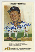 Autographs:Others, Mickey Mantle Signed Insurance Card. After moving to the Dallasarea post-retirement from baseball, the HOFer Mickey Mantle...