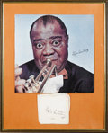 Music Memorabilia:Autographs and Signed Items, Louis Armstrong Signed Handkerchief. A white silk handkerchiefsigned by the Jazz legend in black ink, matted and framed alo...(Total: 1 Item)