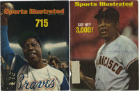 """Hank Aaron and Willie Mays Signed """"Sports Illustrated"""" Covers Lot of 2. As is tradition, the magazine Sports I..."""