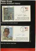 Autographs:Others, 1985 Pete Rose Signed First Day Covers Lot of 2. Fine pair of first day covers commemorating Pete Rose's ascent to the top ...