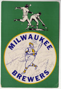 Autographs:Others, 1974-75 Baseball Team-Signed Signs Lot of 7. More than sixtysignatures from baseball stars of the mid-1970s appear on thes...