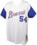 Baseball Collectibles:Uniforms, 2002 Atlanta Braves Game-Worn #54 Throwback Jersey. Minor signs of wear are apparent on the throwback gamer we offer here, ...