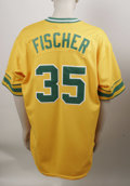 Baseball Collectibles:Uniforms, 2002 Brad Fischer Game-Worn Throwback Jersey. Oakland A's bullpen coach Brad Fischer has enjoyed several years of service w...