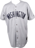 Baseball Collectibles:Uniforms, 2002 Mike Lamb Game-Worn Throwback Jersey. The ex-Texas Rangerinfielder Mike Lamb wore the throwback Washington Senators j...