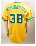 Baseball Collectibles:Uniforms, 2002 Ron Washington Game-Worn Throwback Jersey. Long-time third base coach for the Oakland A's and former major leaguer Ron...