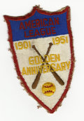 Baseball Collectibles:Others, 1951 American League Golden Anniversary Patch. In 1951, all theplayers in the AL wore this patch on their left sleeve to c...