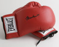 Boxing Collectibles:Autographs, Muhammad Ali Signed Boxing Gloves. The right glove of this new pairof Everlasts has been signed in black sharpie by the ma...