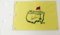 Golf Collectibles:Autographs, Arnold Palmer Signed Masters Flag. Lauded in the golf world as oneof the trailblazers of the game and regarded among the t...