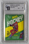 Hockey Collectibles:Others, 1970-71 Topps Hockey Wax Pack GAI NM 7. Included within the sealed wax pack we offer here from the 1970-71 Topps Hockey iss...