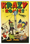"Golden Age (1938-1955):Funny Animal, Krazy Komics #18 Davis Crippen (""D"" Copy) pedigree (Timely, 1945)Condition: VF+. Funny animal stories. Overstreet 2006 VF 8..."
