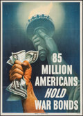 "Movie Posters:War, World War II Propaganda (U.S. Government Printing Office, 1945).Poster (20"" X 28"") ""85 Million Americans Hold War Bonds."" W..."