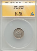 Three Cent Nickels, 1881 3CN -- Scratched -- ANACS. XF45 Details. NGC Census: (9/484).PCGS Population (11/637). Mintage: 1,080,575. Numismedia...