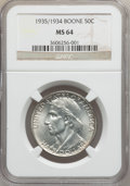 Commemorative Silver: , 1935/34 50C Boone MS64 NGC. NGC Census: (346/832). PCGS Population(637/931). Mintage: 10,008. Numismedia Wsl. Price for pr...