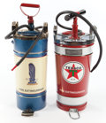 General Americana, TWO CANISTER FIRE EXTINGUISHERS, RICHFIELD AND TEXACO. 20thcentury. 26.5 x 8.5 x 9 inches (Richfield). 26 x 10 x 10 inches ...(Total: 2 Items)