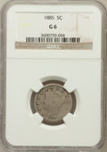 Liberty Nickels: , 1885 5C Good 6 NGC. NGC Census: (28/403). PCGS Population (80/749).Mintage: 1,476,490. Numismedia Wsl. Price for problem f...