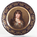 Ceramics & Porcelain, A GERMAN ROYAL VIENNA-STYLE PAINTED PORCELAIN PORTRAIT PLATE BY HARRASS: ALECTO. Circa 1900. Marks: (shield). Signed...