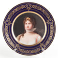 Furniture : Continental, A GERMAN ROYAL VIENNA-STYLE PAINTED PORCELAIN CABINET PLATE AFTERRICHTER: THE PRUSSIAN QUEEN LOUISA . Circa 1900. M...