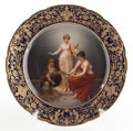 Ceramics & Porcelain, A GERMAN ROYAL VIENNA-STYLE PAINTED PORCELAIN CABINET PLATE AFTER THUMANN: THE THREE FATES . Circa 1890. Marks: (gil...