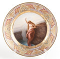 Paintings, A GERMAN ROYAL VIENNA-STYLE PAINTED TRANSFER PRINT CABINET PLATE: LORELEY . Circa 1880. Marks: (shield). 9-1/2 inche...