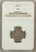 Liberty Nickels: , 1885 5C Good 4 NGC. NGC Census: (91/431). PCGS Population (95/829).Mintage: 1,476,490. Numismedia Wsl. Price for problem f...