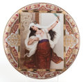 Ceramics & Porcelain, A GERMAN ROYAL VIENNA-STYLE PAINTED PORCELAIN CHARGER: SCHLEIERTANZ. Circa 1880. Marks: (shield). 16-1/2...