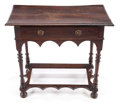Furniture , A WILLIAM AND MARY WALNUT SIDE TABLE . Circa 1700. 27-3/4 x 32 x 18 inches (70.5 x 81.3 x 45.7 cm). ...