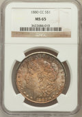 Morgan Dollars: , 1880-CC $1 MS65 NGC. NGC Census: (1250/564). PCGS Population(2324/712). Mintage: 591,000. Numismedia Wsl. Price for proble...