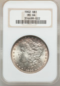 Morgan Dollars: , 1902 $1 MS64 NGC. NGC Census: (2360/1061). PCGS Population(2589/1903). Mintage: 7,994,777. Numismedia Wsl. Price for probl...