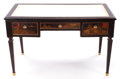Furniture , A GEORGE III-STYLE LACQUERED WRITING DESK WITH LEATHER INSET TOP . Early 20th century. 31-1/4 x 50 x 25-1/2 inches (79.4 x 1...