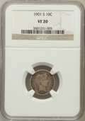 Barber Dimes: , 1901-S 10C VF20 NGC. NGC Census: (2/88). PCGS Population: (15/167). CDN: $385 Whsle. Bid for problem-free NGC/PCGS VF20. Mi...