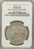 Morgan Dollars: , 1893-CC $1 -- Cleaned, Obverse Scratched -- NGC Details. AU. NGCCensus: (54/1771). PCGS Population (79/3422). Mintage: 677...