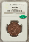 Large Cents: , 1856 1C Upright 5 MS62 Red and Brown NGC. CAC. NGC Census: (6/245).PCGS Population (15/256). Mintage: 2,690,463. Numismedi...