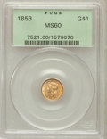 Gold Dollars: , 1853 G$1 MS60 PCGS. PCGS Population (160/3532). NGC Census:(240/7759). Mintage: 4,076,051. Numismedia Wsl. Price for probl...