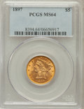 Liberty Half Eagles: , 1897 $5 MS64 PCGS. PCGS Population (152/22). NGC Census: (267/80).Mintage: 867,883. Numismedia Wsl. Price for problem free...