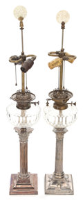 Lighting:Lamps, A PAIR OF VICTORIAN BRASS AND GLASS CONVERTED OIL LAMP BASES . 19th century. 35 inches (88.9 cm) (including finial). ... (Total: 2 Items)