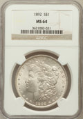 Morgan Dollars: , 1892 $1 MS64 NGC. NGC Census: (802/97). PCGS Population (1360/241).Mintage: 1,037,245. Numismedia Wsl. Price for problem f...