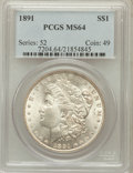 Morgan Dollars: , 1891 $1 MS64 PCGS. PCGS Population (1684/116). NGC Census:(1149/127). Mintage: 8,694,206. Numismedia Wsl. Price for proble...