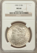Morgan Dollars: , 1902-O $1 MS66 NGC. NGC Census: (541/22). PCGS Population (490/8).Mintage: 8,636,000. Numismedia Wsl. Price for problem fr...