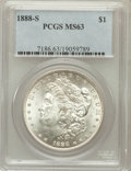 Morgan Dollars: , 1888-S $1 MS63 PCGS. PCGS Population (2050/1686). NGC Census:(937/989). Mintage: 657,000. Numismedia Wsl. Price for proble...